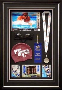 Box Framed Swimming Memorabilia
