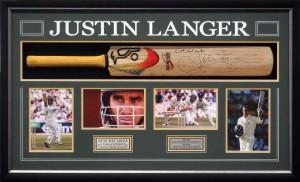Framed Justin Langer Bat