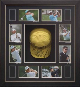 Framed Signed Golf Hat Collage