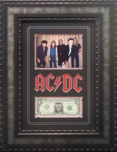 Framed ACDC Dollar Bill Collage