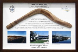 Framed Boomerang Collage with Printed Mattboard