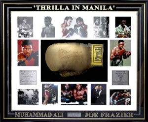 Framed Boxing Ali and Frazier Glove