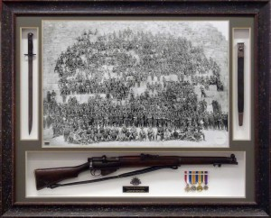 Framed Anzac Photo with 303 & Bayonet