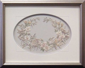 Framed Needlework with oval Matt