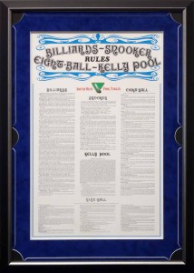 Framed Pool Rules with Custom Matt