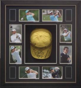 Framed Signed Golf Hat Collage