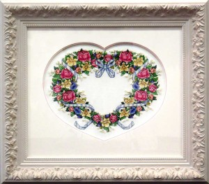 Framed Heart Cross stitch with Custom Matt