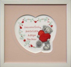 Framed Heart Shaped Cross-stitch with Gold Pen Line