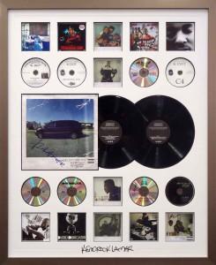 Framed Kendrick Lamar LP CD Collage