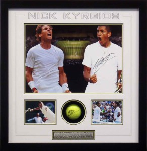 Framed Nick Kyrgios Signed Ball Photo Collage