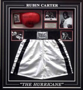 Framed Rubin Carter Shorts Glove Collage