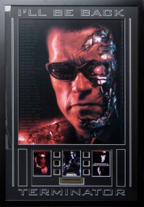 Framed Terminator Poster and Film Cells