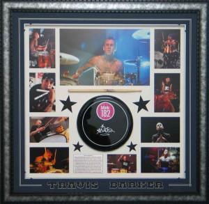 Framed Travis Barker Drum Skin Stick Collage