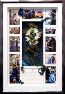 Framed Wedding Bouquet Marriage Certificate Photo Collage