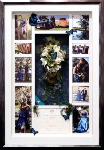 Framed Wedding Bouquet and Photo Collage