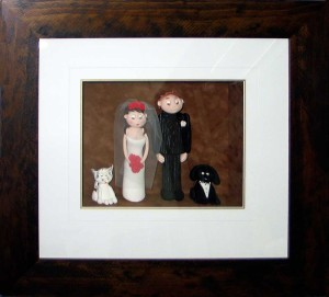 Framed Wedding Cake Toppers Icing Figures