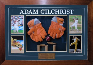 Framed Adam-Gilchrist-Gloves-Wickets-Ball-Collage