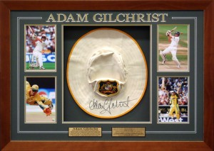 Framed Adam-Gilchrist-Hat-and-Photos-Collage