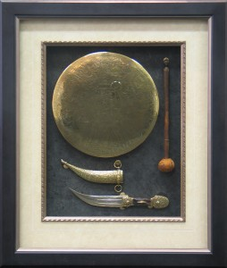 Framed Egyptian-Brass-Gong-and-Dagger-Case-Closed