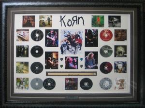 Framed Korn-Drum-Stick-CD-Collage