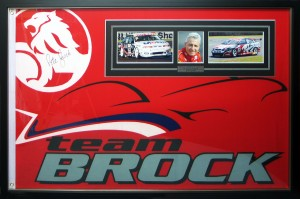 Framed Peter-Brock-Signed-Racing-Flag
