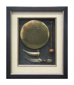 Framed Egyptian-Brass-Gong-and-Dagger